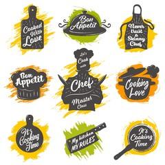 Set of cooking emblem