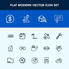 Modern, simple vector icon set with holiday, building, workout, flight, water, baja, blue, hot, steam, exercise, trend, label, price, plane, gym, frame, tag, kitchen, estate, transportation, key icons