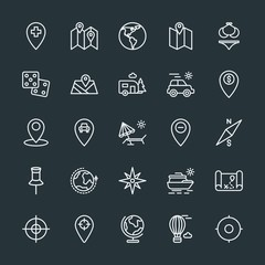 Modern Simple Set of location, travel Vector outline Icons. Contains such Icons as  hot,  globus, dice,  car,  fly,  travel, yacht, trailer and more on dark background. Fully Editable. Pixel Perfect.
