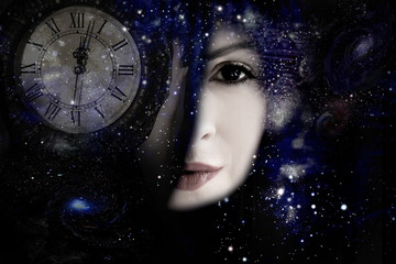 Woman's face, Universe and time