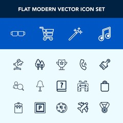 Modern, simple vector icon set with cart, fashion, account, musical, home, landscape, nature, light, magic, interior, award, web, computer, sound, tree, win, cell, wizard, graphic, sun, glasses icons