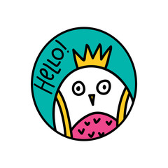 HELLO! lettering and owl doodle illustration