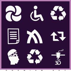 Set of 9 symbols filled icons