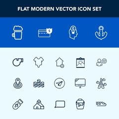 Modern, simple vector icon set with cycle, object, fashion, property, ship, apartment, referee, warehouse, center, photo, cute, bar, model, boat, business, removal, point, message, web, online icons