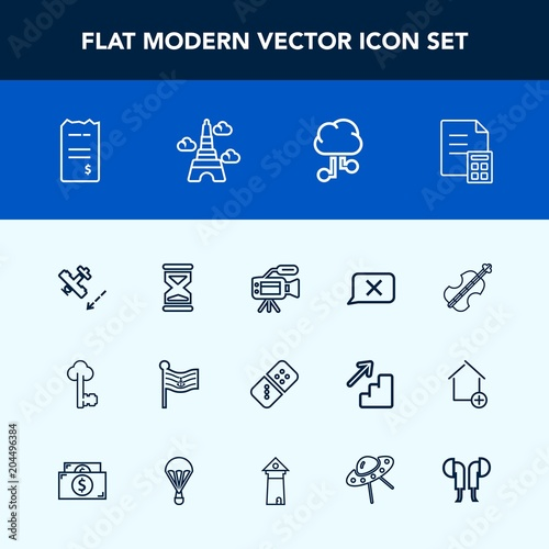 Modern, simple vector icon set with banking, violoncello