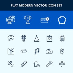 Modern, simple vector icon set with uniform, chief, blank, microphone, substitute, chat, music, baggage, adventure, message, lighthouse, white, business, replace, bubble, cook, outdoor, change icons