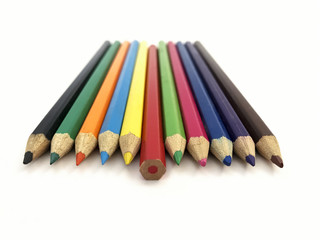 Colored pencils isolated on white background in perspective