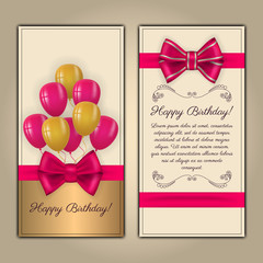 Colorful vector birthday card with text space. Decorated with ribbon, bow and balloons on light background.