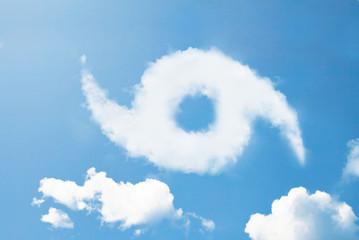 Storm icon cloud shape on blue sky.