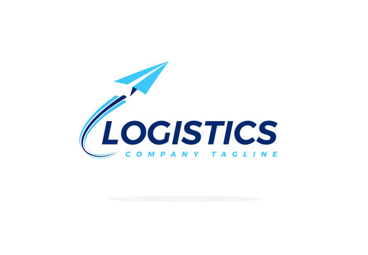 Blue Logistics Logo With Airplane Taking Off Vector