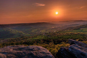 Sunset over the Peak District