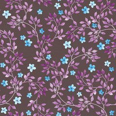 Seamless vintage pattern - hand painted leaves and ditsy blue flowers. Aquarelle design on dark brown background