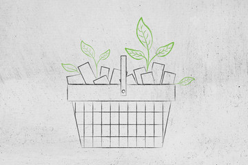 shopping basket full of products and with leaves growing out of it, consumers and ecology awareness