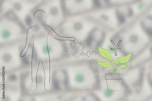 Man Watering A Plant With Chinese Yuan Currency Symbol Growing Out
