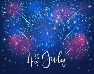 Firework and text 4th of July on blue background