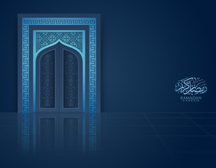 Ramadan Background mosque window with arabic pattern. Vector illustration