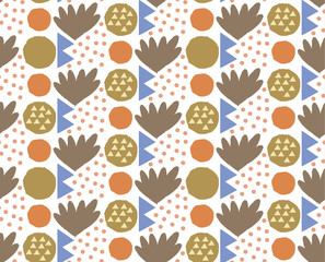 Ornamental seamless pattern with abstract form, geometry shapes, dots. Cute print in scandinavian style.The image is made hand-made. Abstract background. Ornamental, traditional, simple.