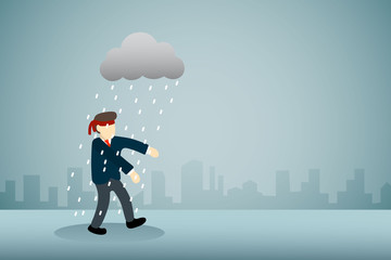 businessman with blindfold walking with rain cloud.