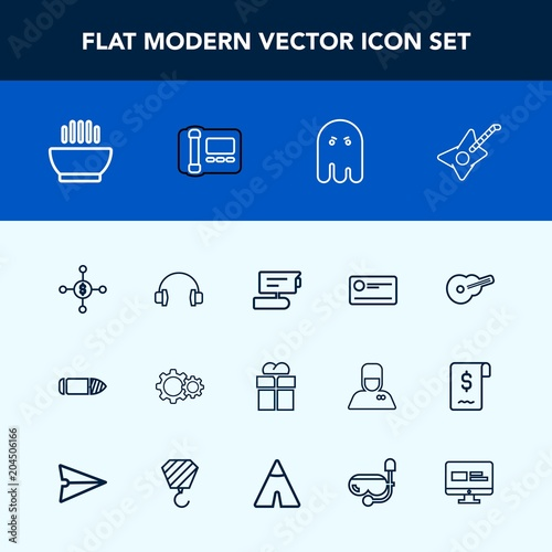 modern simple vector icon set with action camera cheque package