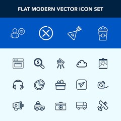 Modern, simple vector icon set with blank, photo, online, picture, grill, chart, profile, frame, speaker, graph, search, business, web, food, internet, conference, coffee, presentation, musical icons