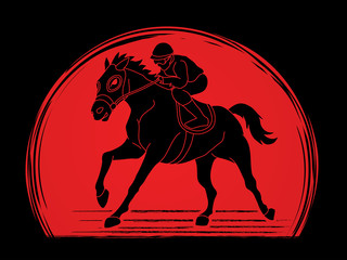 Riding horse, Race horse, Jockey Equestrian designed on sunlight background graphic vector.