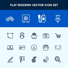 Modern, simple vector icon set with finance, account, nature, transportation, bicycle, web, audio, stick, cart, call, message, hospital, wheel, dish, stereo, video, cycle, retail, blossom, bike icons
