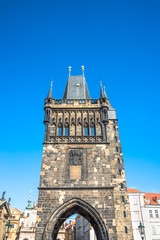 Old Town Charles (Karluv most) Bridge Tower arched gateway in Prague, Czech Republic