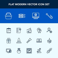 Modern, simple vector icon set with computer, concept, delete, road, picture, account, blank, travel, ladder, giftbox, home, space, web, fish, property, pin, checklist, rod, picnic, increase, up icons