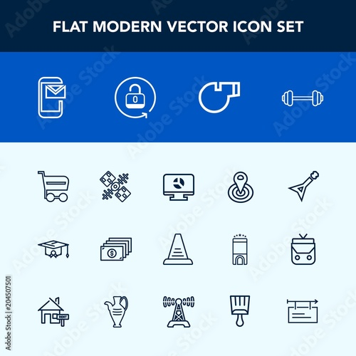Modern Simple Vector Icon Set With Cycle College Point Sport Musical Guitar Template Business Currency Workout Gym Email E