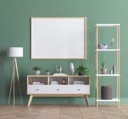 Mock up poster frame in modern minimalist flat, 3D render