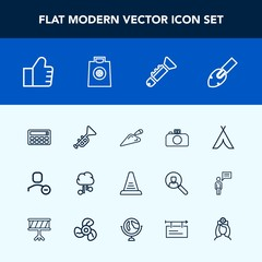 Modern, simple vector icon set with trumpet, search, banner, travel, healthcare, delete, user, bugle, blank, billboard, equipment, button, account, step, ladder, gift, outdoor, tent, retail, up icons