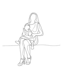sketch mom and baby sitting
