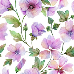 Beautiful lavatera flowers with green leaves against white background. Seamless floral pattern. Watercolor painting. Hand painted illustration.