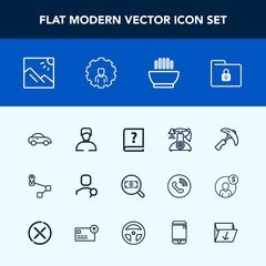Modern, simple vector icon set with vehicle, photography, vintage, soup, call, landscape, man, folder, web, picking, hot, travel, map, equipment, lock, point, account, crane, paper, taxi, dish icons