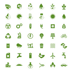 Set of eco icons. Problems of ecology and environment, renewable energy, eco friendly industry.