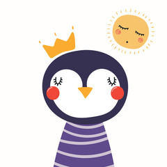 Hand drawn vector illustration of a cute funny penguin in a shirt and crown, with sun. Isolated objects. Scandinavian style flat design. Concept for children print.