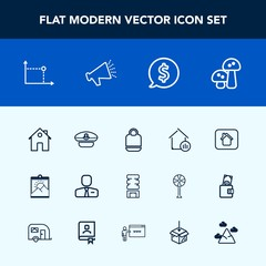 Modern, simple vector icon set with edible, blank, captain, navy, employer, home, cold, real, business, bag, employee, voice, picture, hat, circle, mushroom, loud, property, sound, mountain, job icons