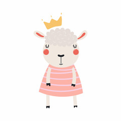 Hand drawn vector illustration of a cute funny sheep girl in a dress and crown. Isolated objects. Scandinavian style flat design. Concept for children print.
