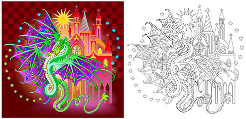 Colorful and black and white pattern for coloring. Illustration of fantasy dragon in fairyland kingdom. Worksheet for children and adults. Vector image.