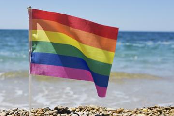 rainbow flag in a shingle beach