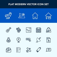 Modern, simple vector icon set with military, calendar, button, white, center, vehicle, object, weapon, point, home, urban, location, day, building, map, radius, navigation, machine, photography icons