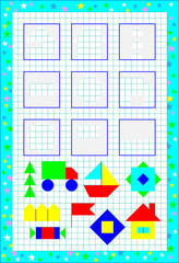 Educational page for children on a square paper. Need to find the missing objects and draw them in correct places. Vector image.
