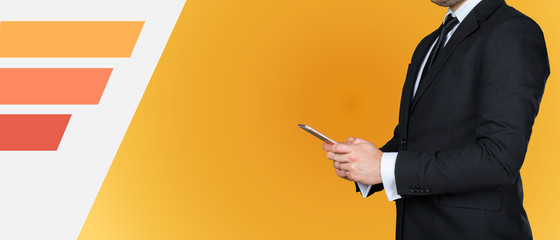 Unrecognizable businessman using his smartphone or typing