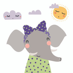 Hand drawn vector illustration of a cute funny elephant girl in a shirt, with a ribbon, with sun and clouds. Isolated objects. Scandinavian style flat design. Concept for children print.