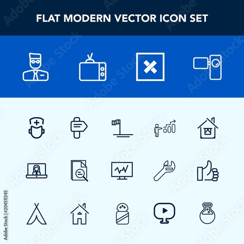 Modern, simple vector icon set with development, medical