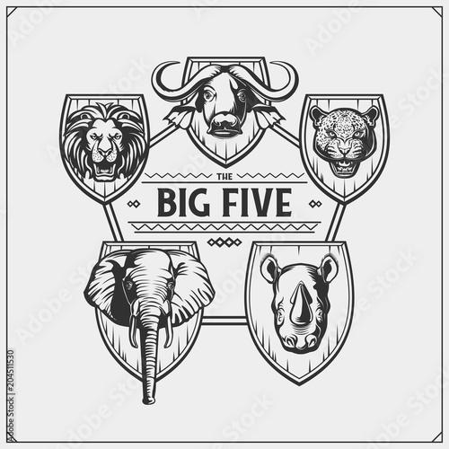 safari emblem with big five animals lion elephant rhino leopard