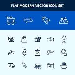 Modern, simple vector icon set with replace, report, statistic, architecture, hand, money, university, falling, trend, business, nature, bed, house, blossom, room, nuclear, building, buy, weapon icons
