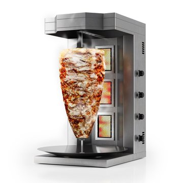 3d shawarma grill machine with chicken meat, on white background