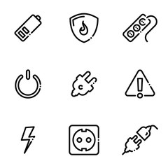 Set of black icons isolated on white background, on theme Power socket