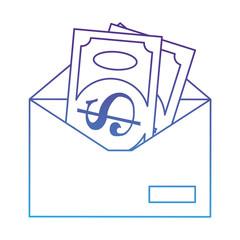 envelope mail with bills dollas vector illustration design